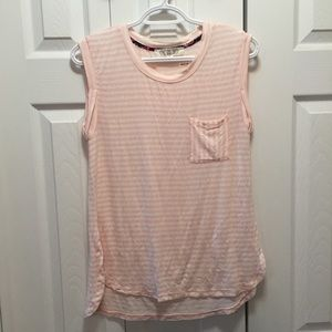 Pink Rose Pink & White Striped Muscle Tank Top